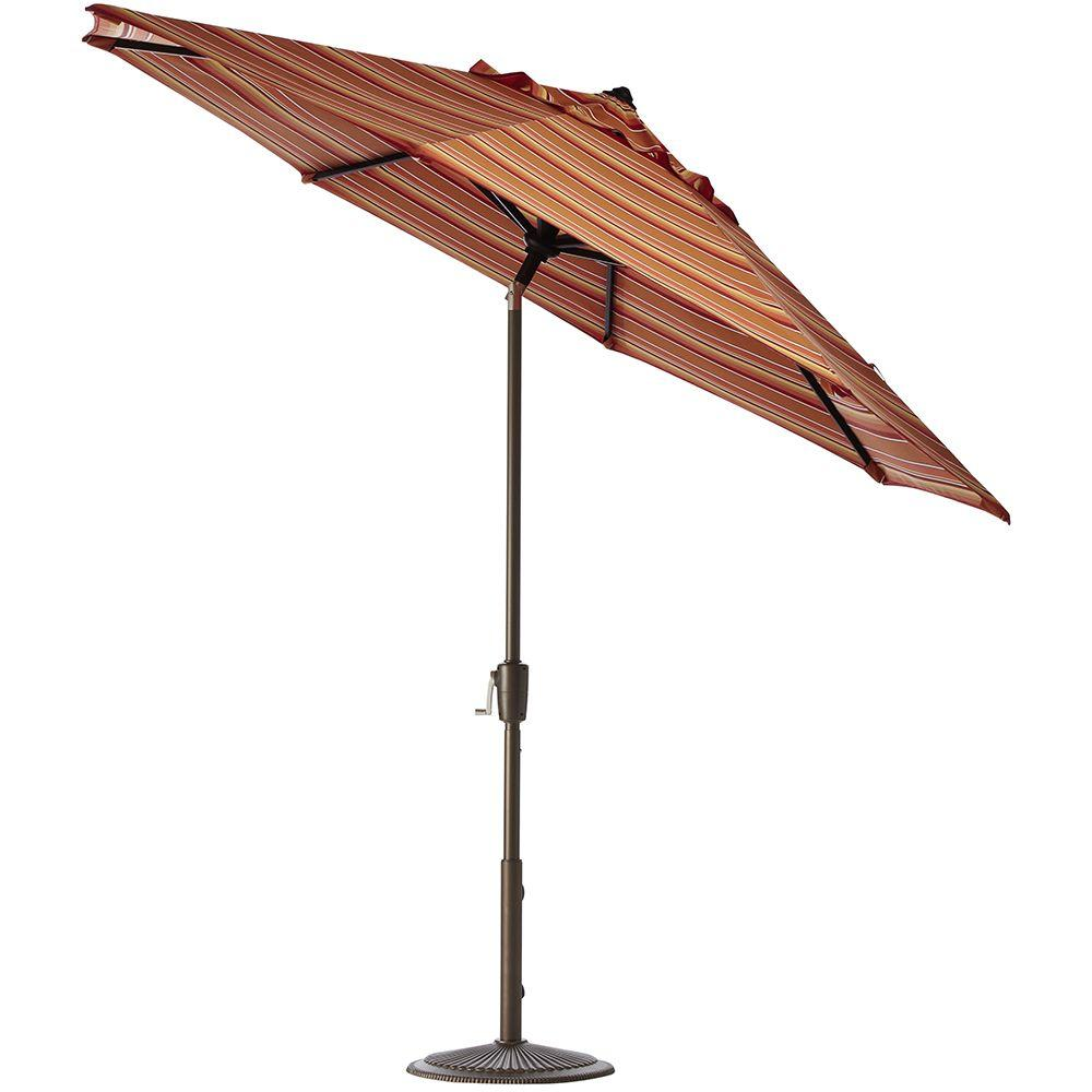 Home Decorators Collection 11 ft. Auto-Tilt Patio Umbrella in Dolce Mango Sunbrella with Bronze Frame