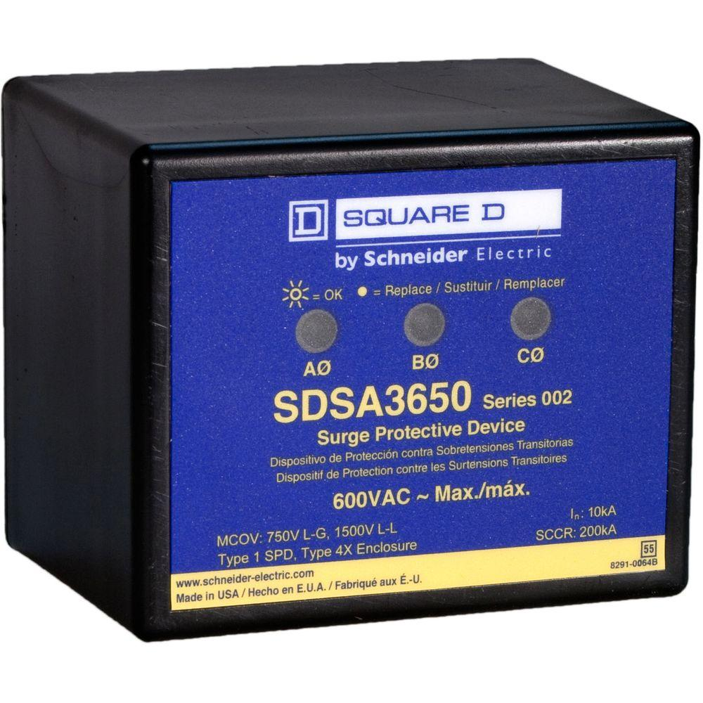 Whole-House Surge Protectors: Square D Electrical Supplies Panel Mounted 3-Phase Surge Protective Device SDSA3650
