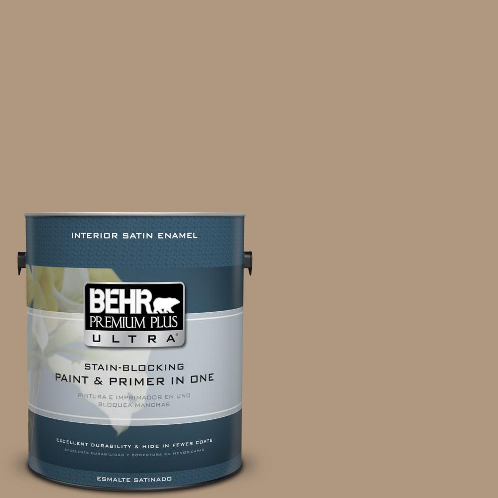 BEHR Premium Plus Ultra Home Decorators Collection 1-gal. #HDC-WR14-3 Roasted Hazelnut Satin Enamel Interior Paint