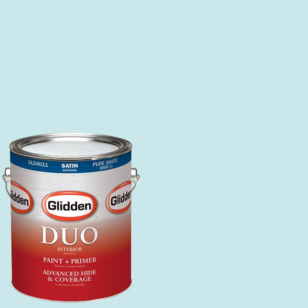 Glidden DUO 1-gal. #HDGB31 Winterscape Blue Satin Latex Interior Paint with Primer