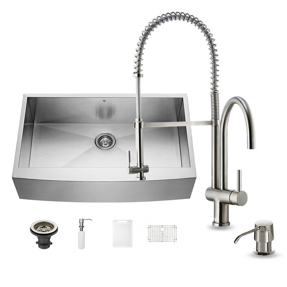 VIGO All-in-One Farmhouse Apron Front Stainless Steel 36 in. Single Basin Kitchen Sink in Stainless Steel