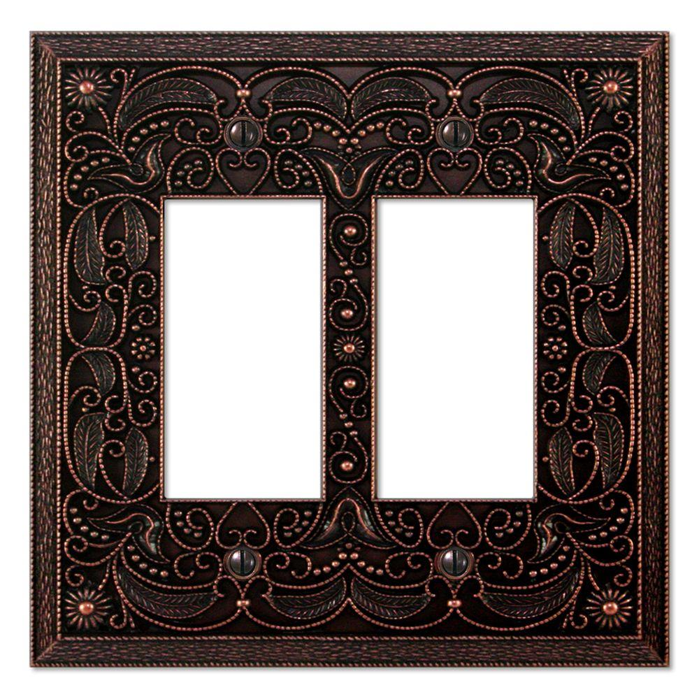 Creative Accents Arabesque 2 Gang Rocker Wall Plate - Antique Bronze-DISCONTINUED