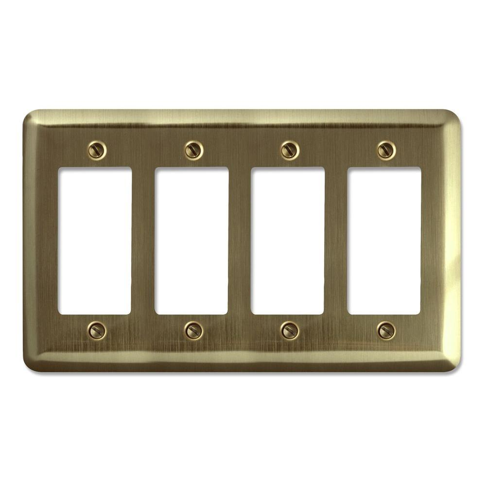 Steel 4 Decora Wall Plate - Brushed Brass