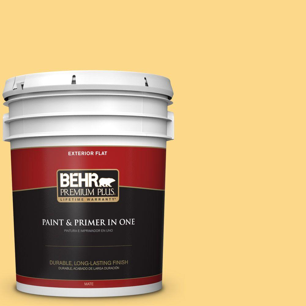 BEHR Premium Plus 5-gal. #P280-4 Surfboard Yellow Flat Exterior Paint