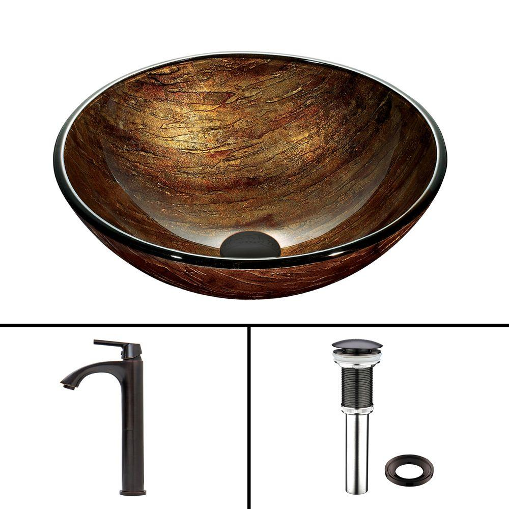 Vigo Glass Vessel Sink in Amber Sunset and Linus Faucet Set in Antique Rubbed Bronze