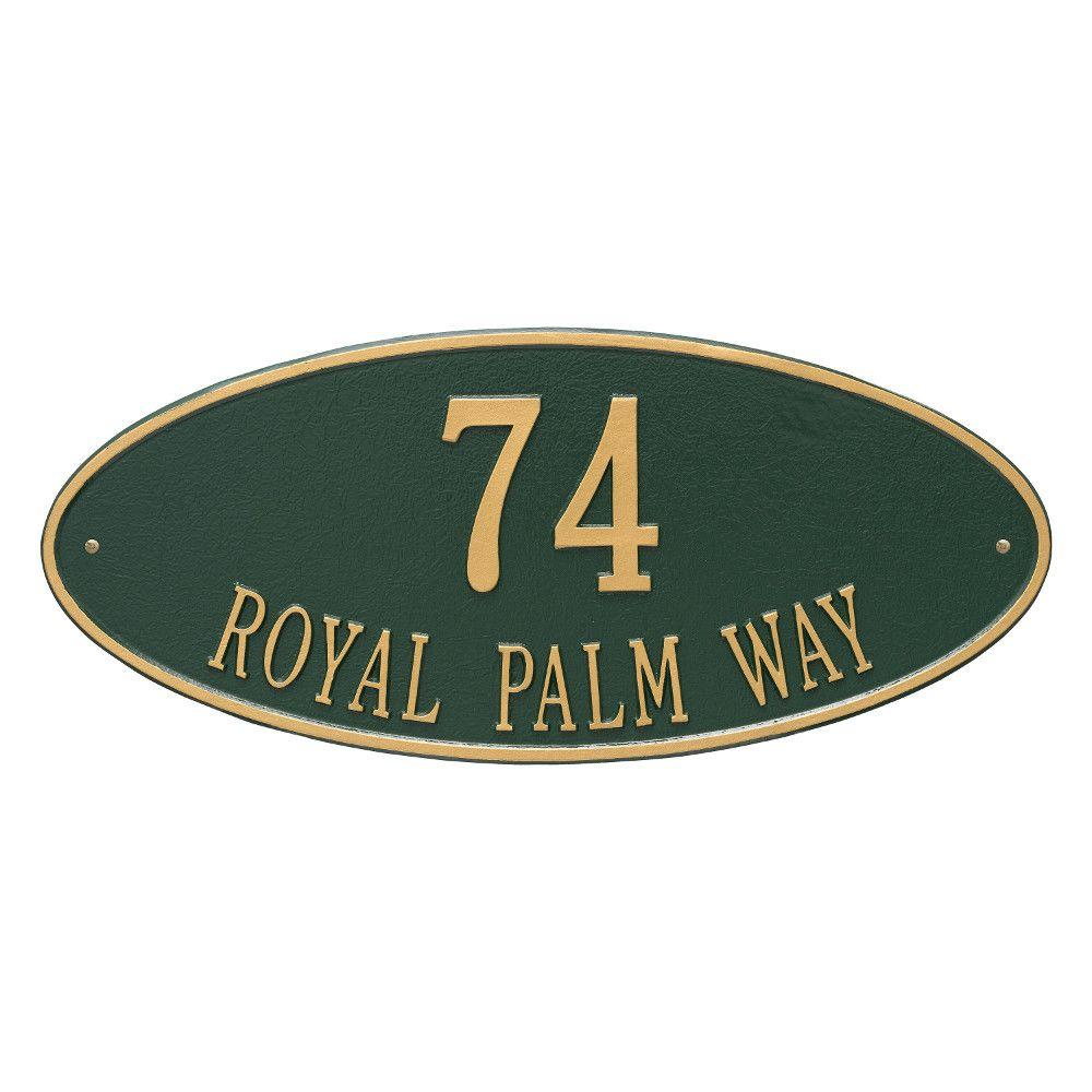 Madison Estate Oval Green/Gold Wall 2-Line Address Plaque