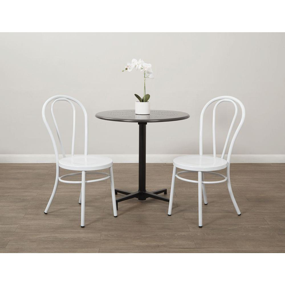 Odessa Solid White Metal Dining Chair (Set of 2)