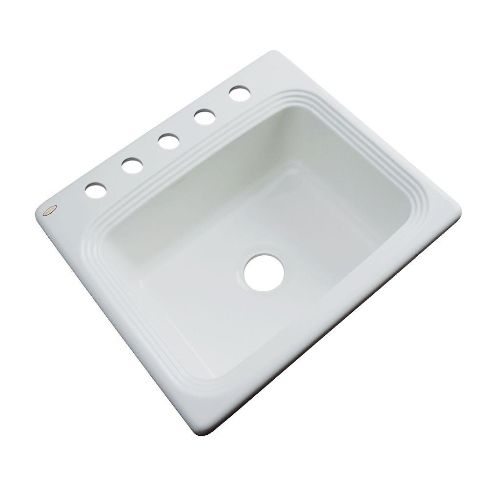 Rochester Drop-In Acrylic 25 in. 5-Hole Single Bowl Kitchen Sink in