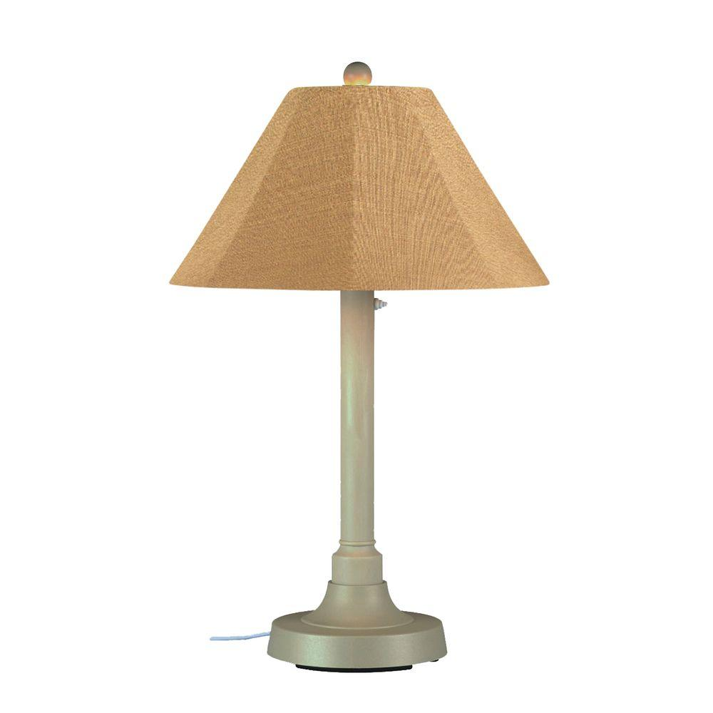 San Juan 34 in. Outdoor Bisque Table Lamp with Straw Linen