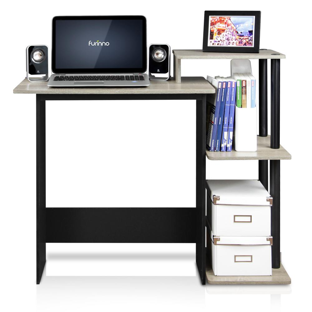 Efficient French Oak Grey/Black Home Computer Desk with Shelves