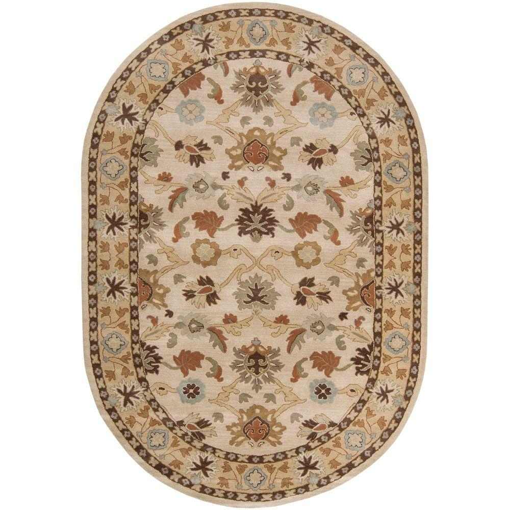 John Beige 8 ft. x 10 ft. Oval Area Rug