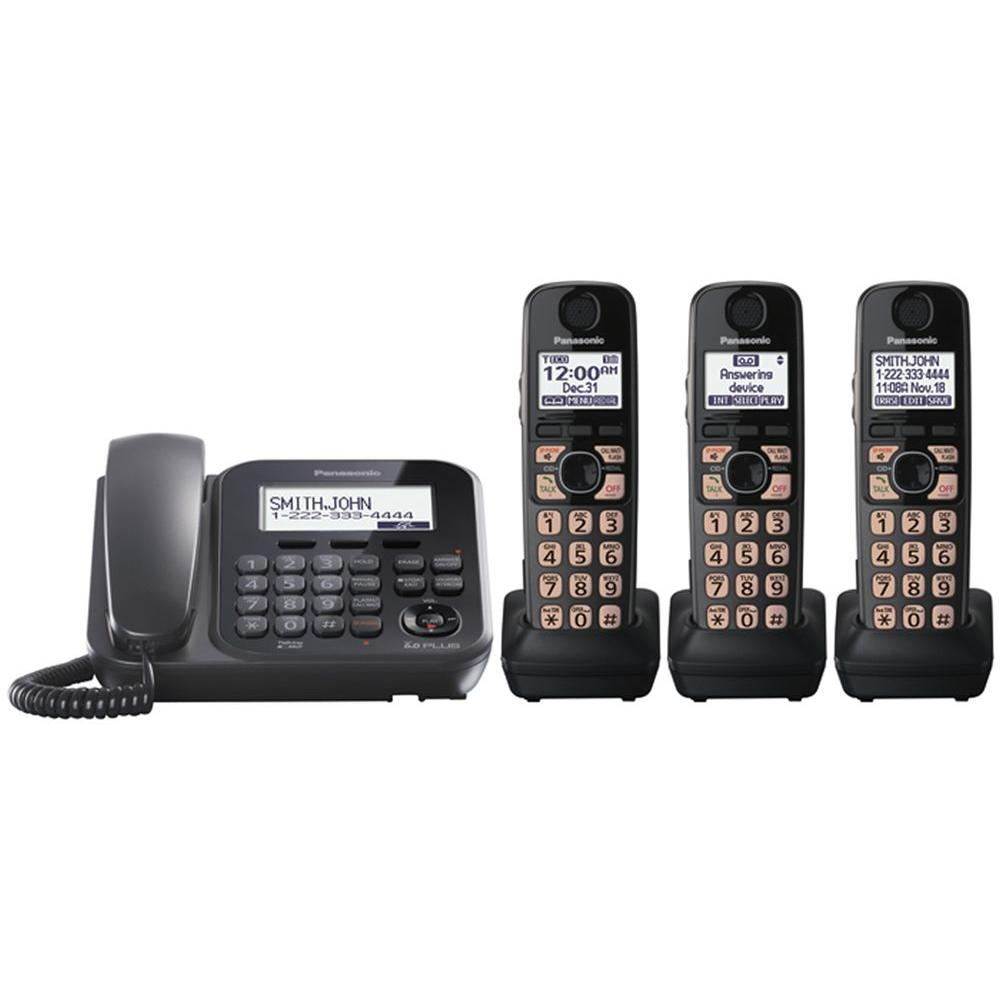Panasonic DECT 6.0+ Corded and Cordless with Digital Answering System,3 Handsets and Talking Caller ID