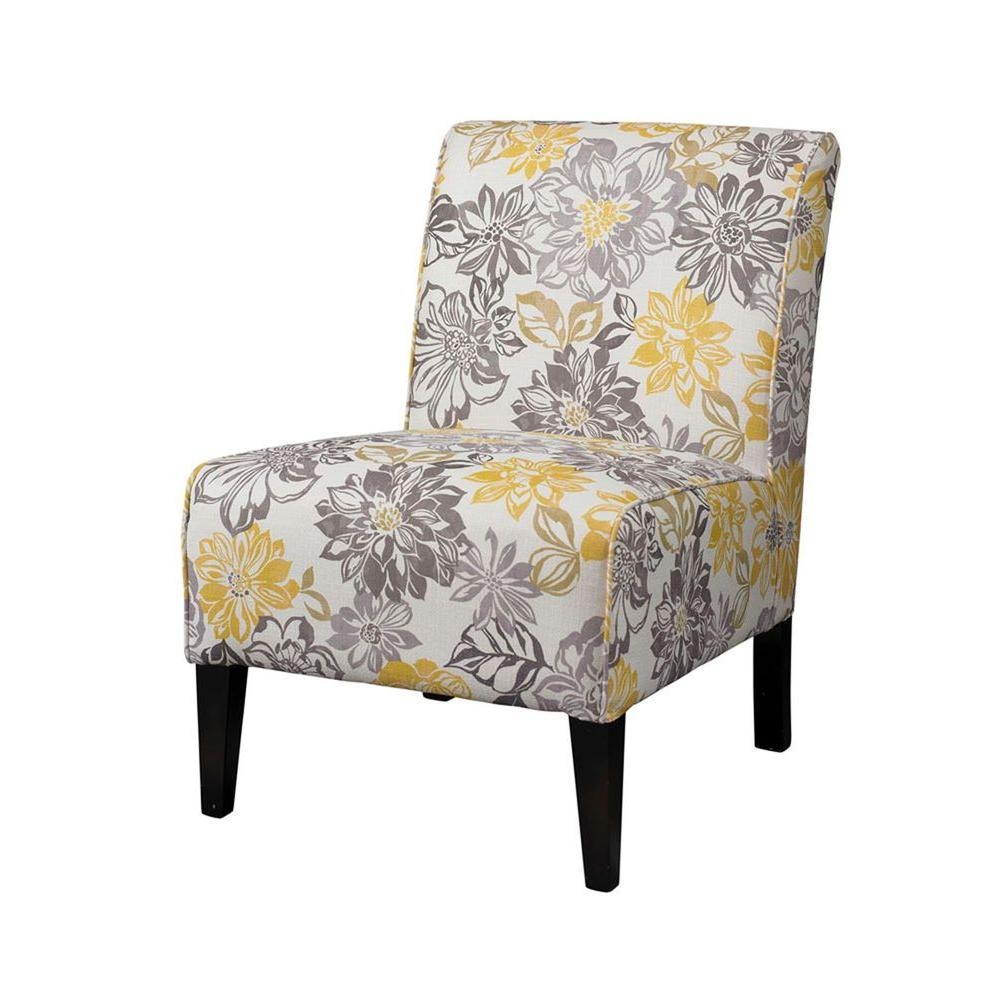 Linon Home Decor Lily Gray Amp Yellow Polyester Side Chair