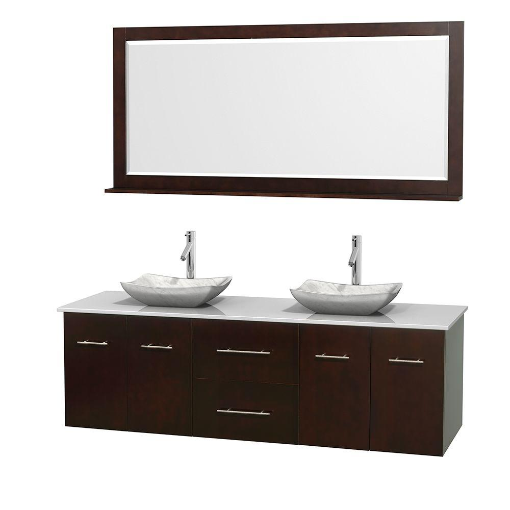 Wyndham Collection Centra 72 in. Double Vanity in Espresso with Solid-Surface Vanity Top in White, Carrara Marble Sinks and 70 in. Mirror