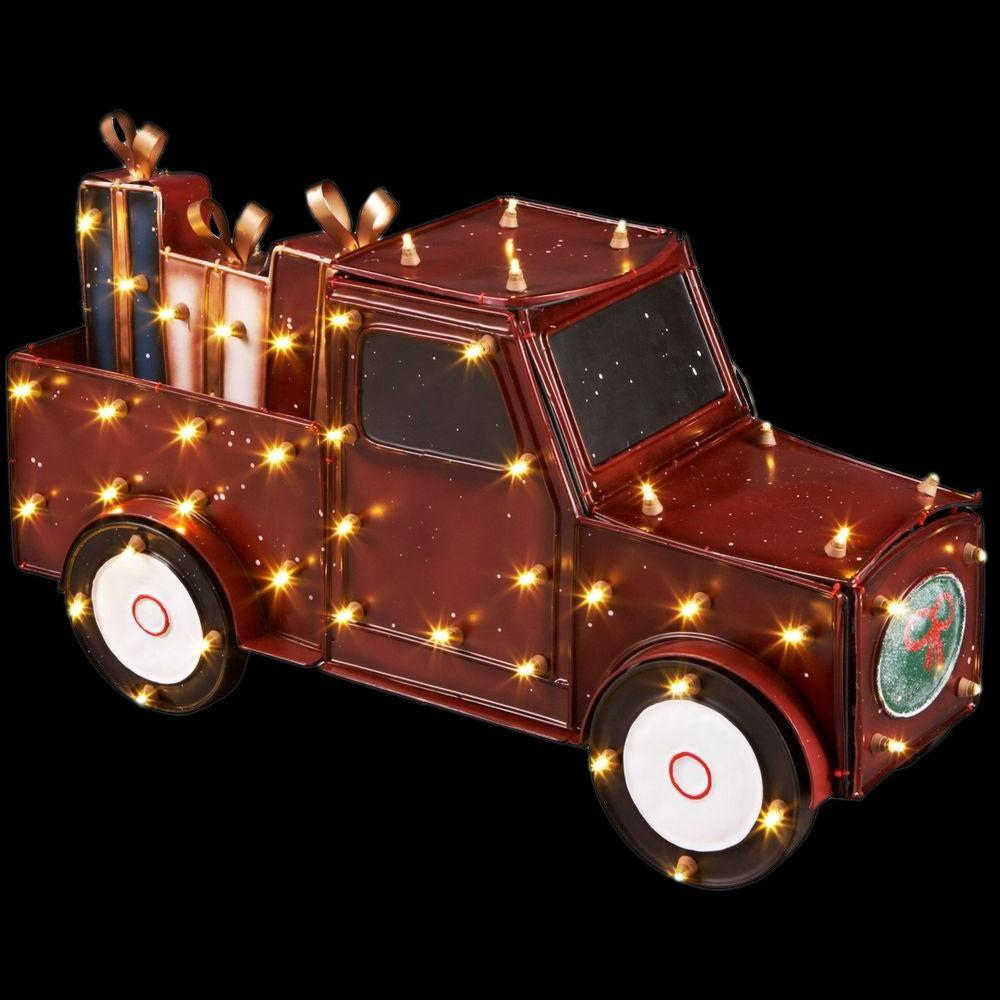 Home Accents Holiday 16.5 in. Antique Lighted Truck with Gift Boxes-ES67-426