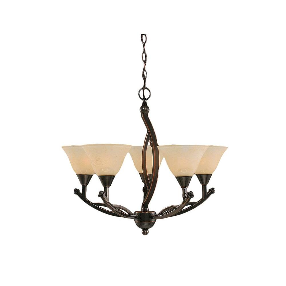 Concord 5-Light Black Copper Chandelier with Amber Marble Glass Shade