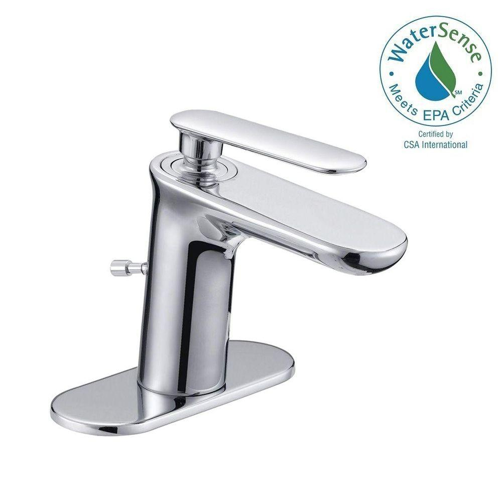 4 in. Centerset Carmine 1-Handle High-Arc Mono Block Bathroom Faucet in