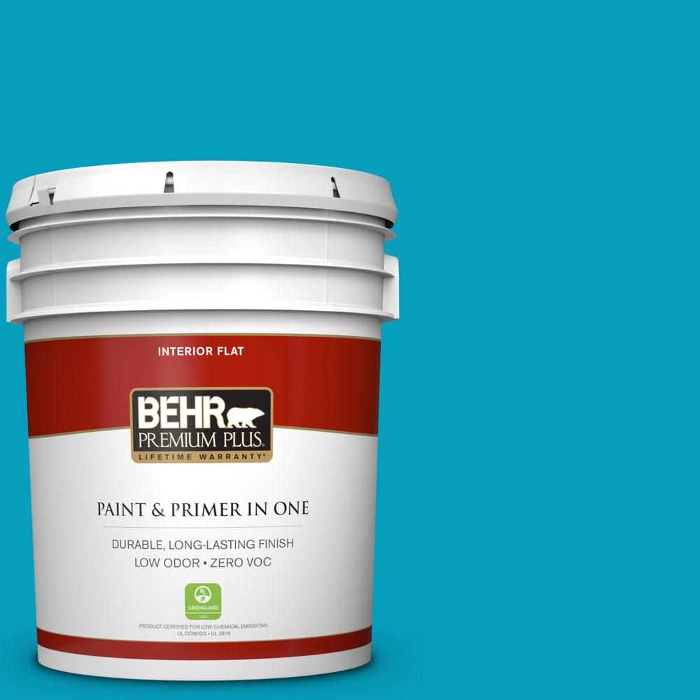 5 gal. #520B-6 Brilliant Sea Zero VOC Flat Interior Paint