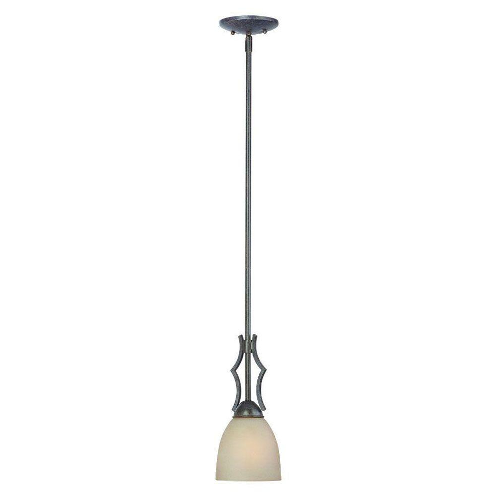 Thomas Lighting Triton 1-Light Sable Bronze Mini Pendant with Tea Stained Glass Shade