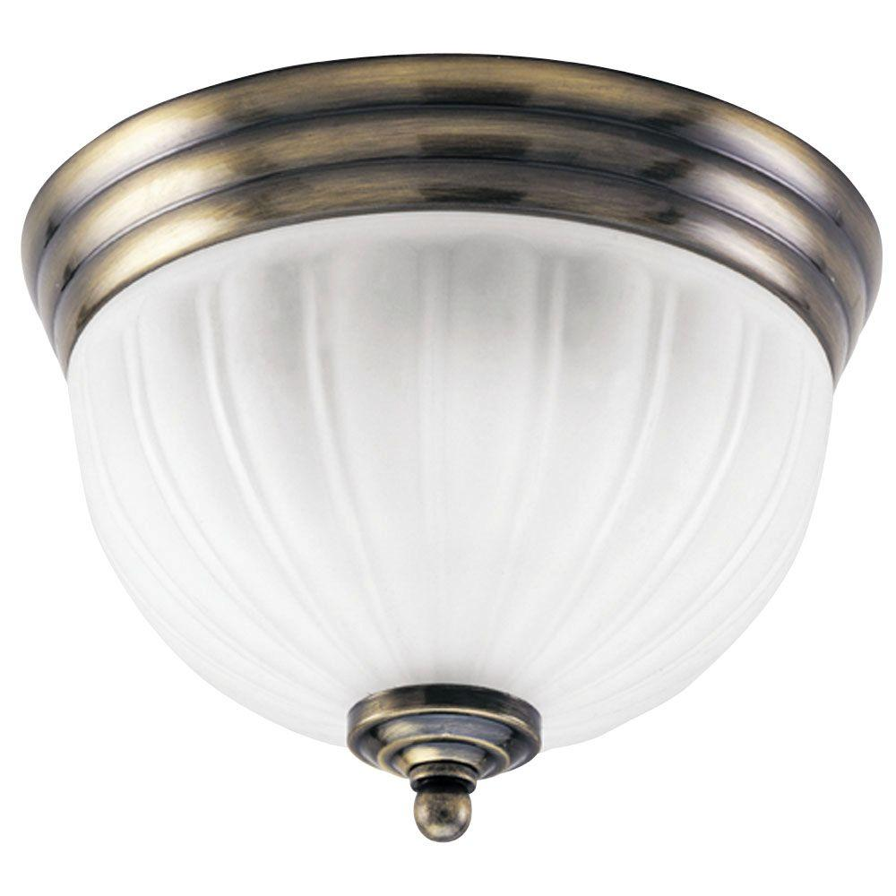 Westinghouse 2-Light Ceiling Fixture Antique Brass Interior Flush-Mount with White Glass