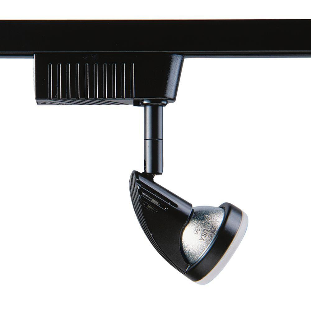 2001 Series Low-Voltage MR16 Black Track Lighting Fixture with Frost Glass