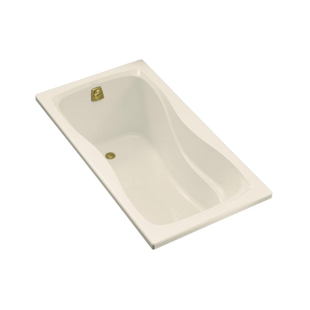 Hourglass 5 ft. Reversible Drain Acrylic Bathtub in Biscuit