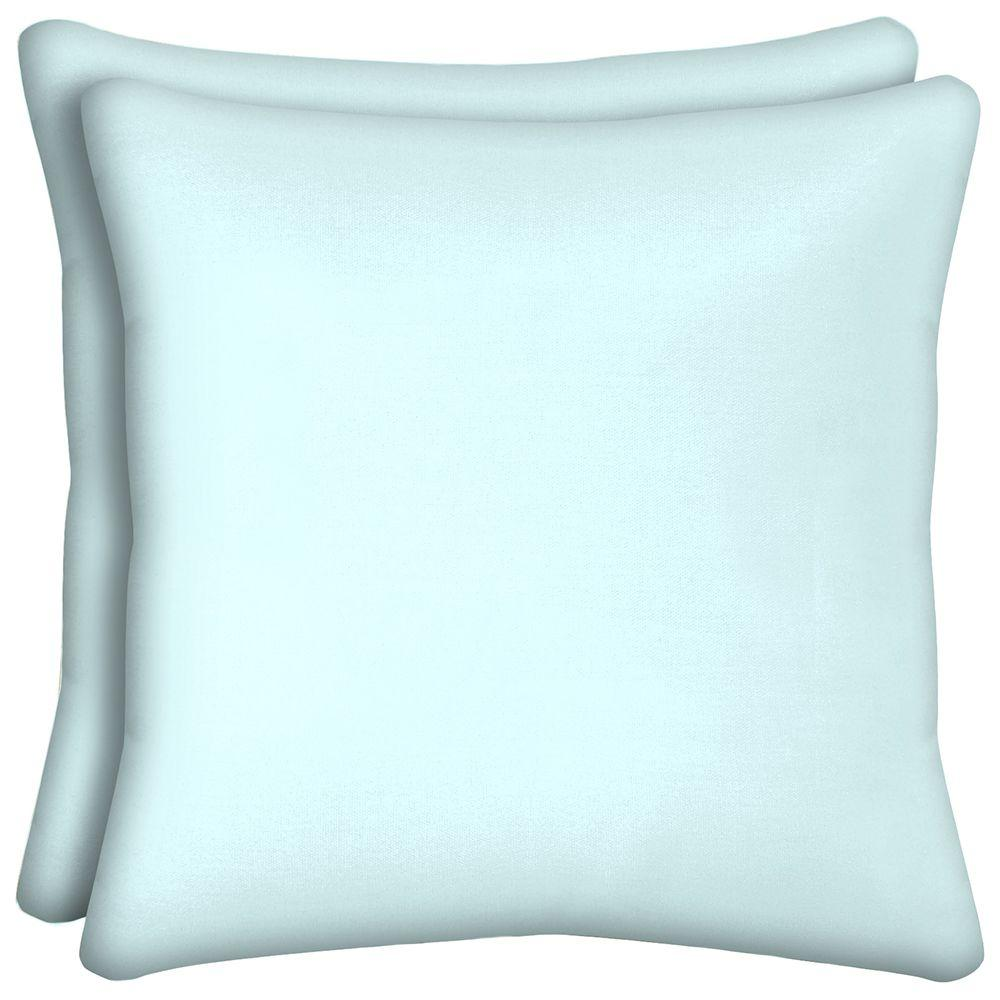 Hampton Bay Well Water Solid Square Outdoor Throw Pillow (2-Pack)-CE06554B-D9D2
