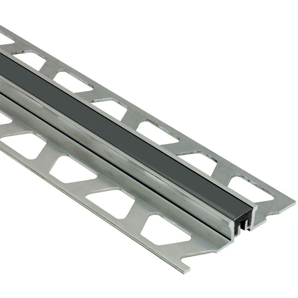 Schluter Dilex-KSN Aluminum with Black Insert 13/16 in. x 8 ft. 2-1/2 in. Metal Movement Joint Tile Edging Trim
