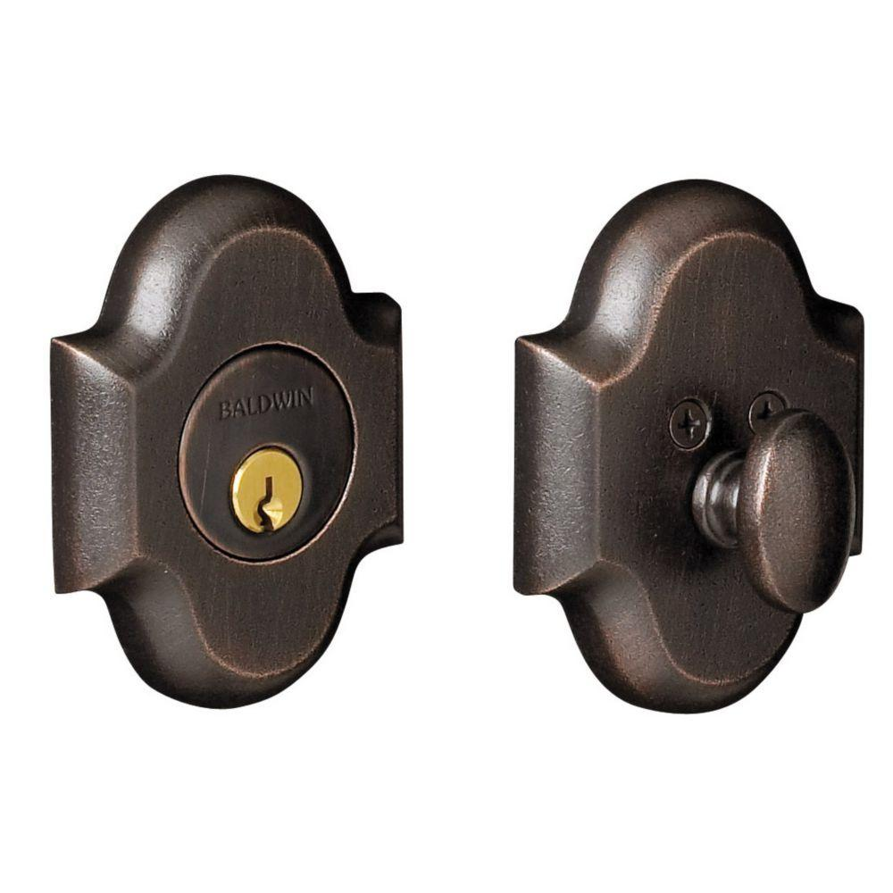 2-1/8 in. Arched Single Cylinder Door Prep Distressed Oil Rubbed Bronze