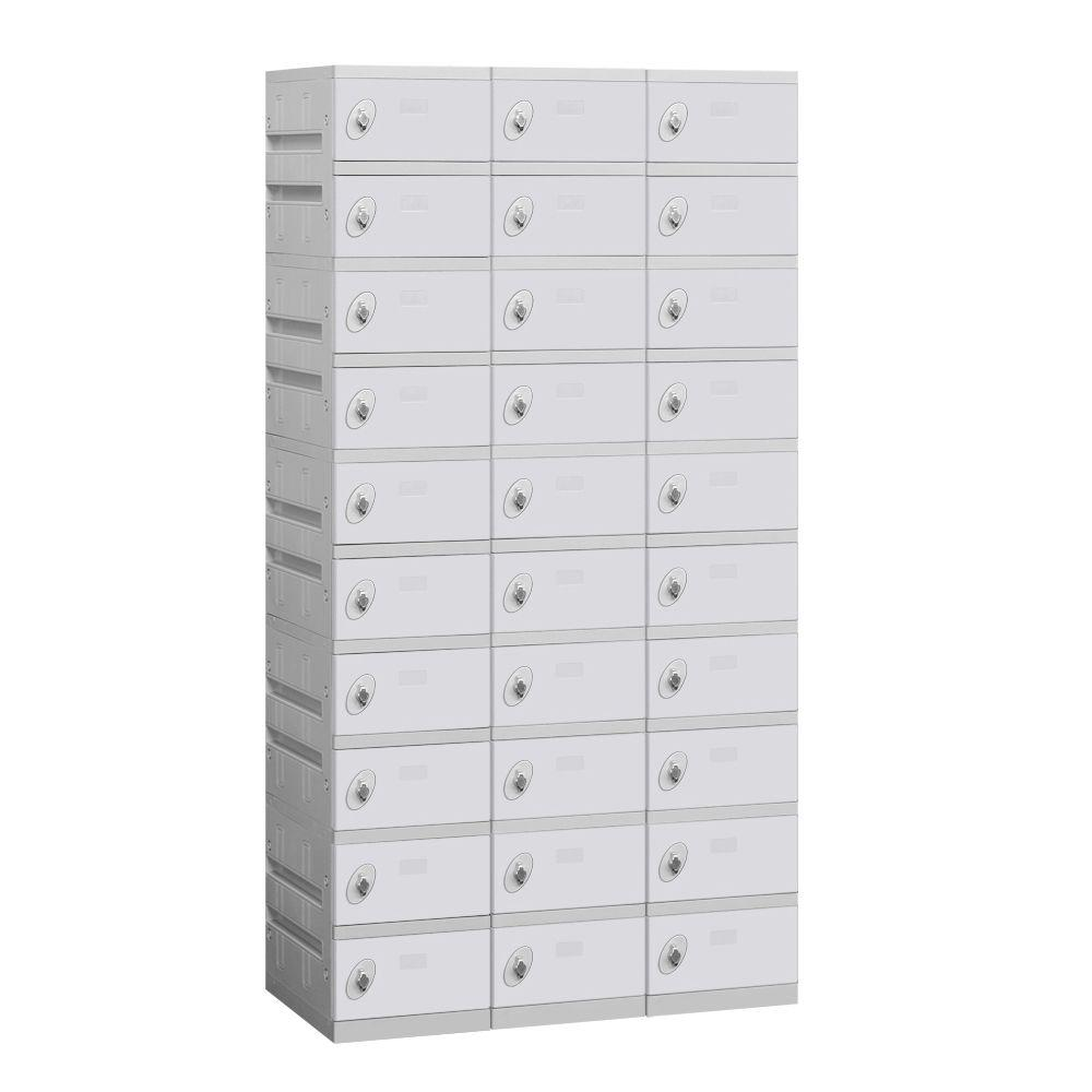 Salsbury Industries 90000 Series 38.25 in. W x 74 in. H x 18 in. D 10-Tier Plastic Lockers Unassembled in Gray
