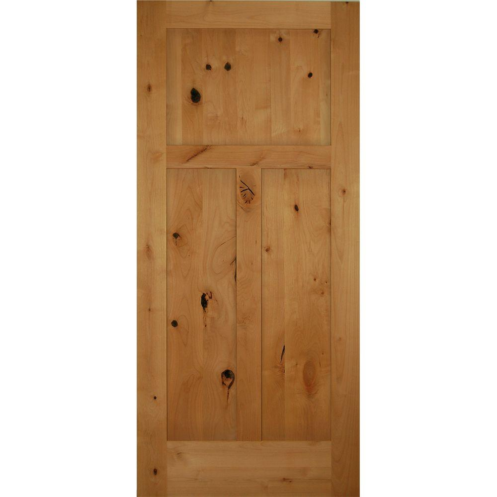36 in x 80 in 3 panel craftsman solid core knotty alder Home depot interior doors wood