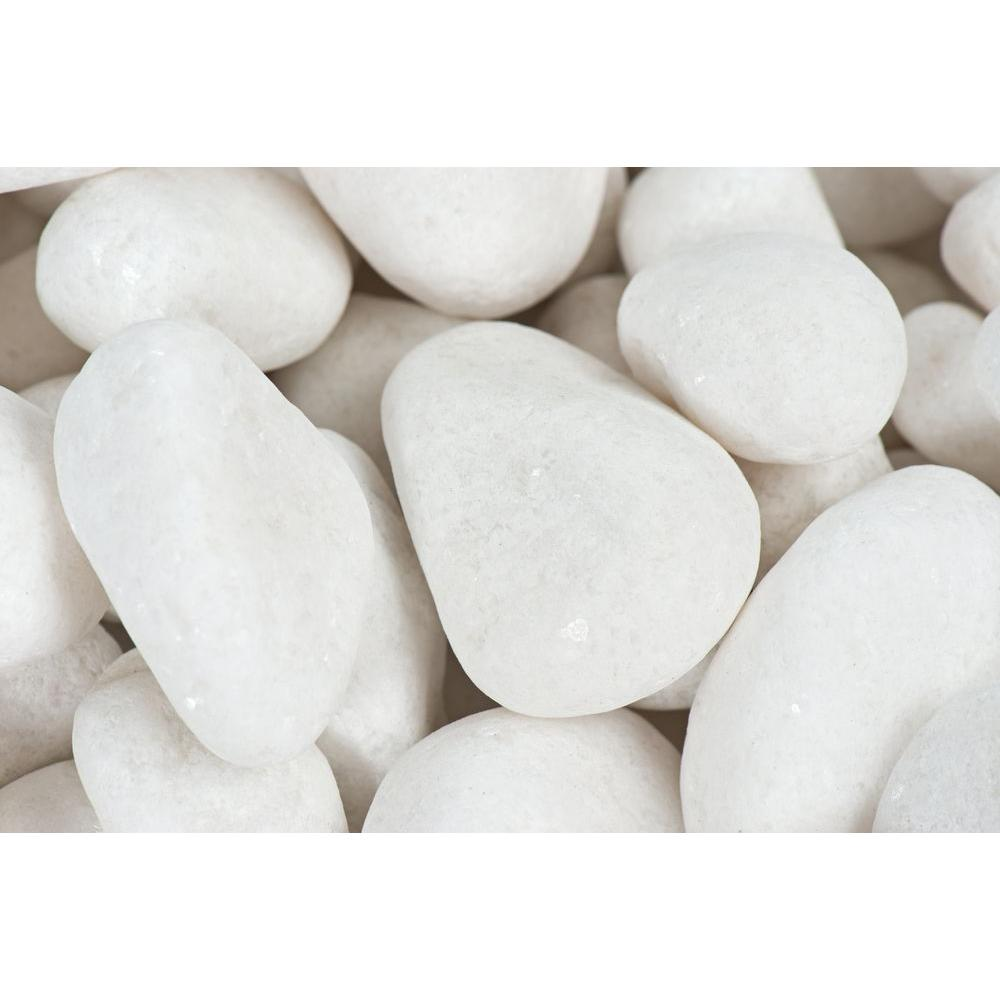 1 in. to 2 in., 20 lb. Medium Snow White Pebbles