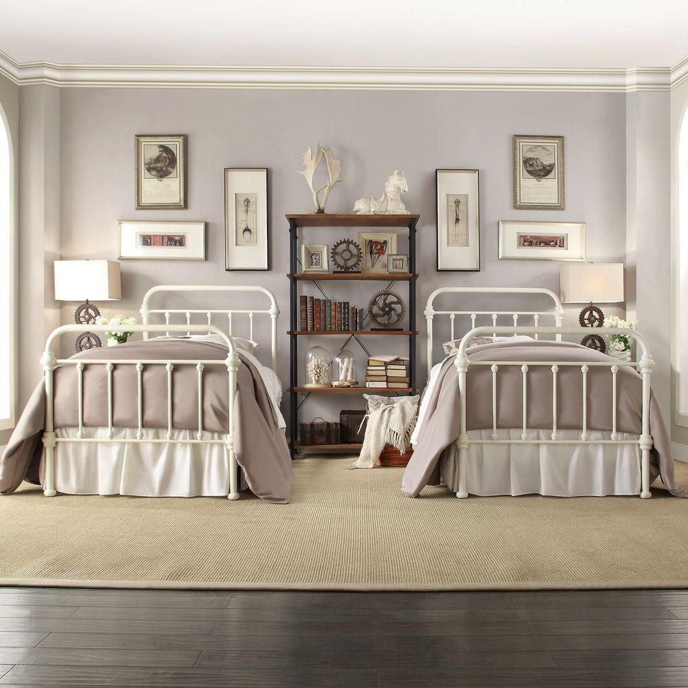 calabria white twin bed frame