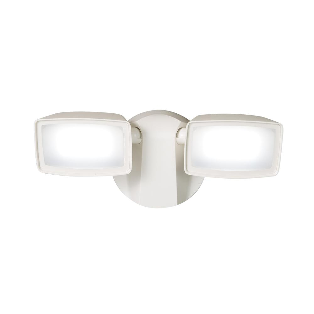 White Outdoor Integrated LED Dual Head Flood Light
