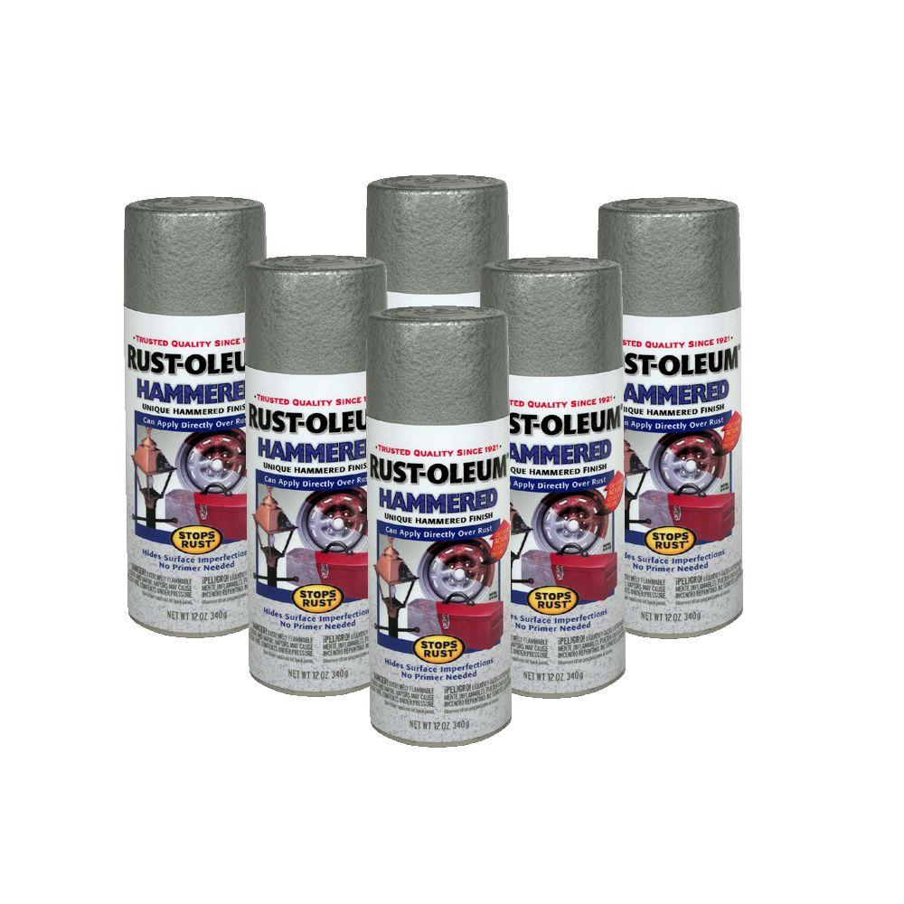 Rust-Oleum Stops Rust 12 oz. Gloss Silver Hammered Spray Paint (6-Pack)-DISCONTINUED