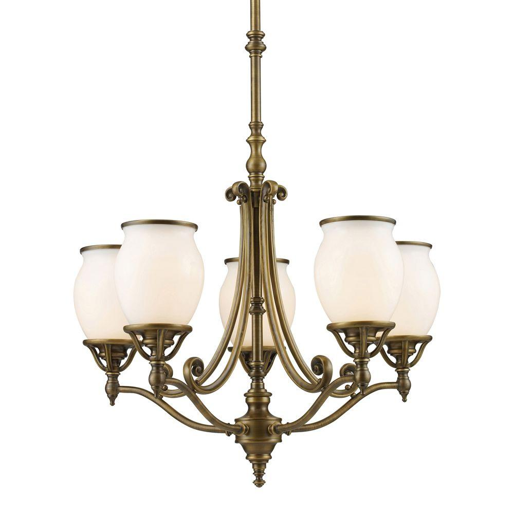 Titan Lighting 5-Light Vintage Brass Patina Ceiling Chandelier-DISCONTINUED