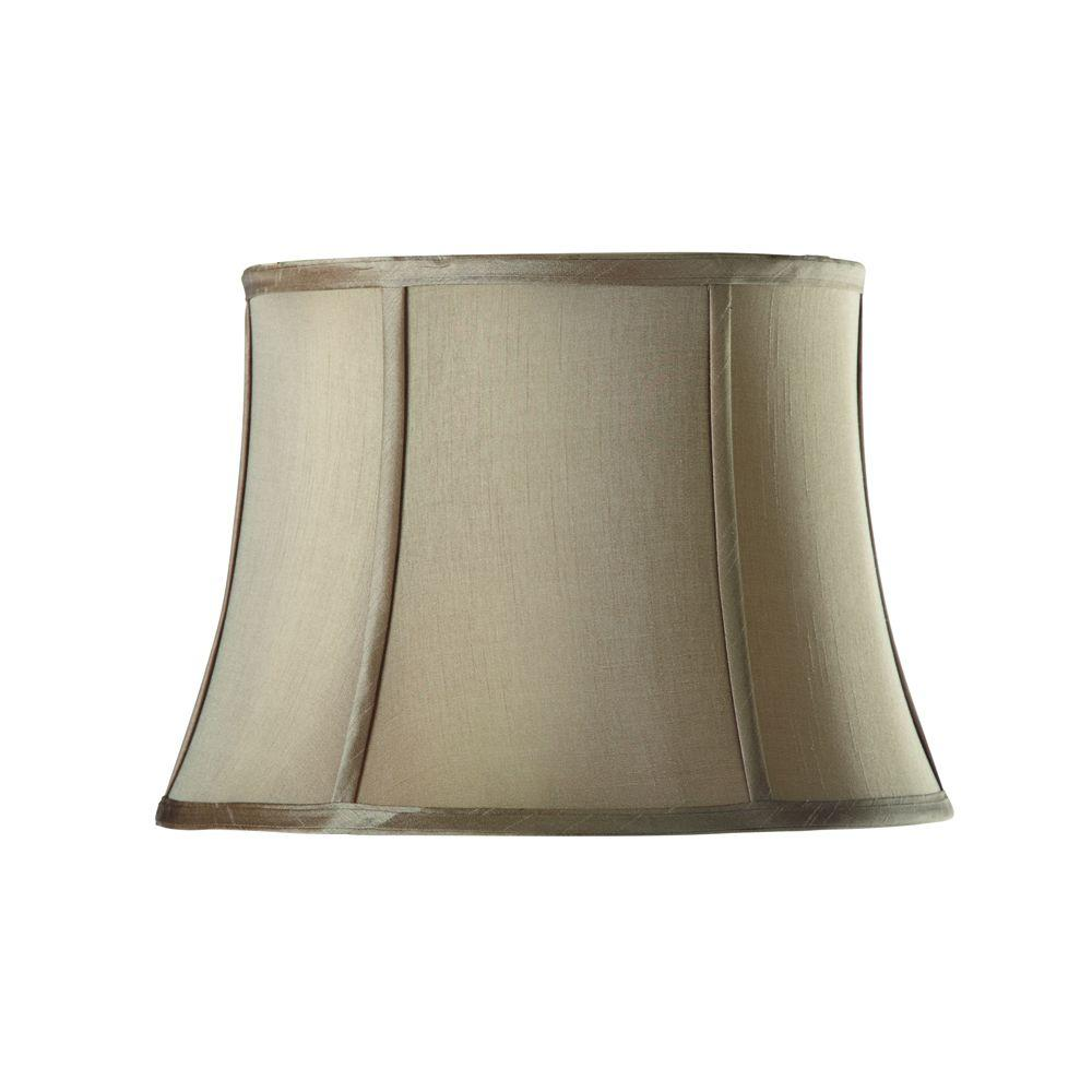 Home Decorators Collection Tapered Medium 16 in. Diameter Taupe Silk Blend Shade