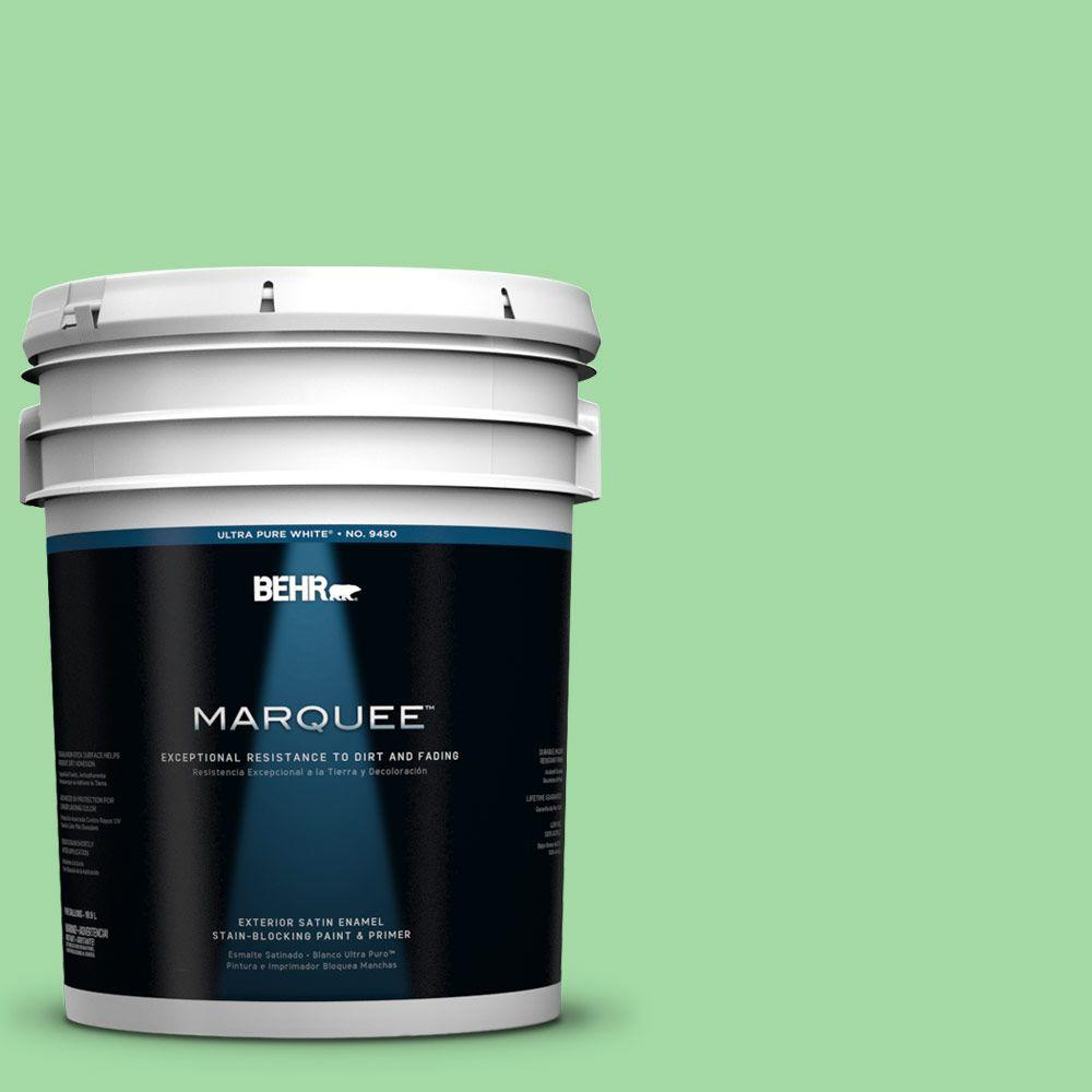 BEHR MARQUEE 5-gal. #450B-4 Green Trance Satin Enamel Exterior Paint-945405 -