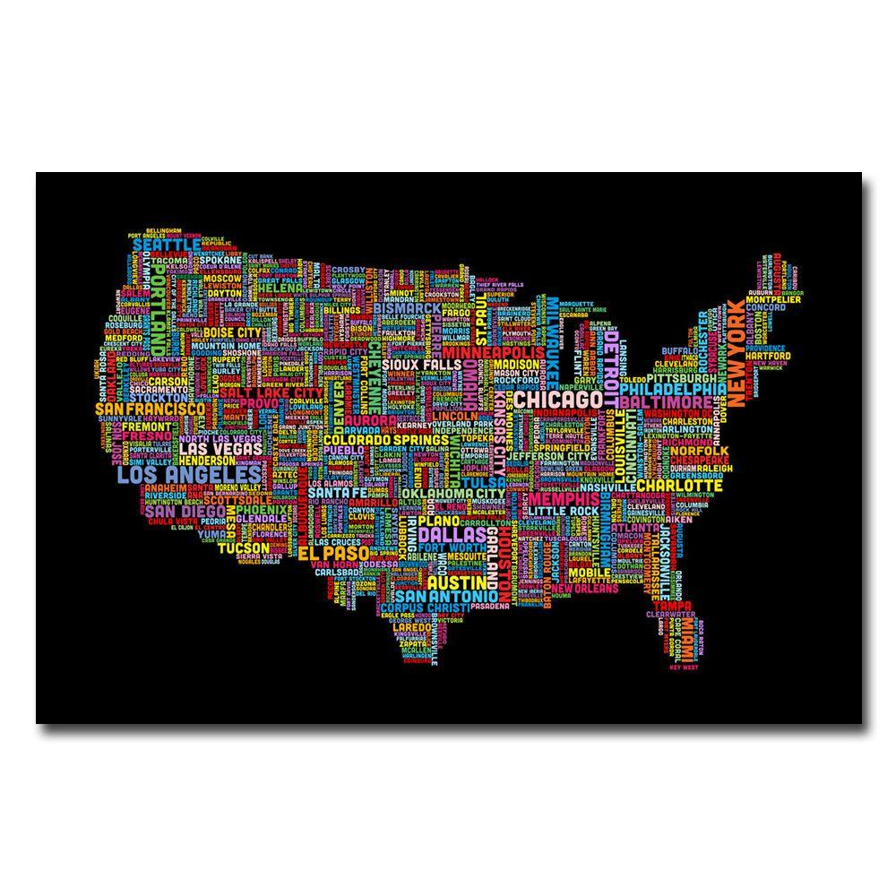 Trademark Fine Art 30 in. x 47 in. US Cities Text Map II Canvas Art