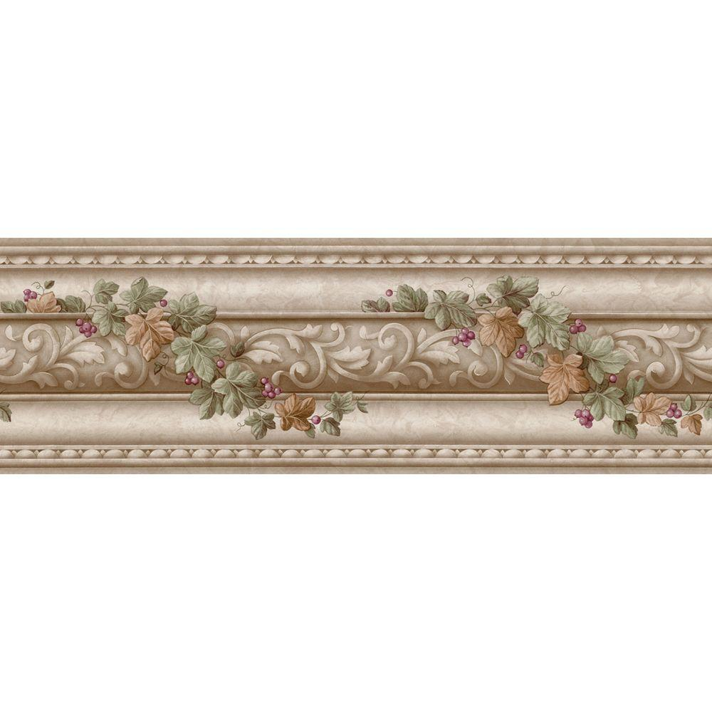 The Wallpaper Company 6 in. x 15 ft. Beige Architectural and Ivy Scroll Border