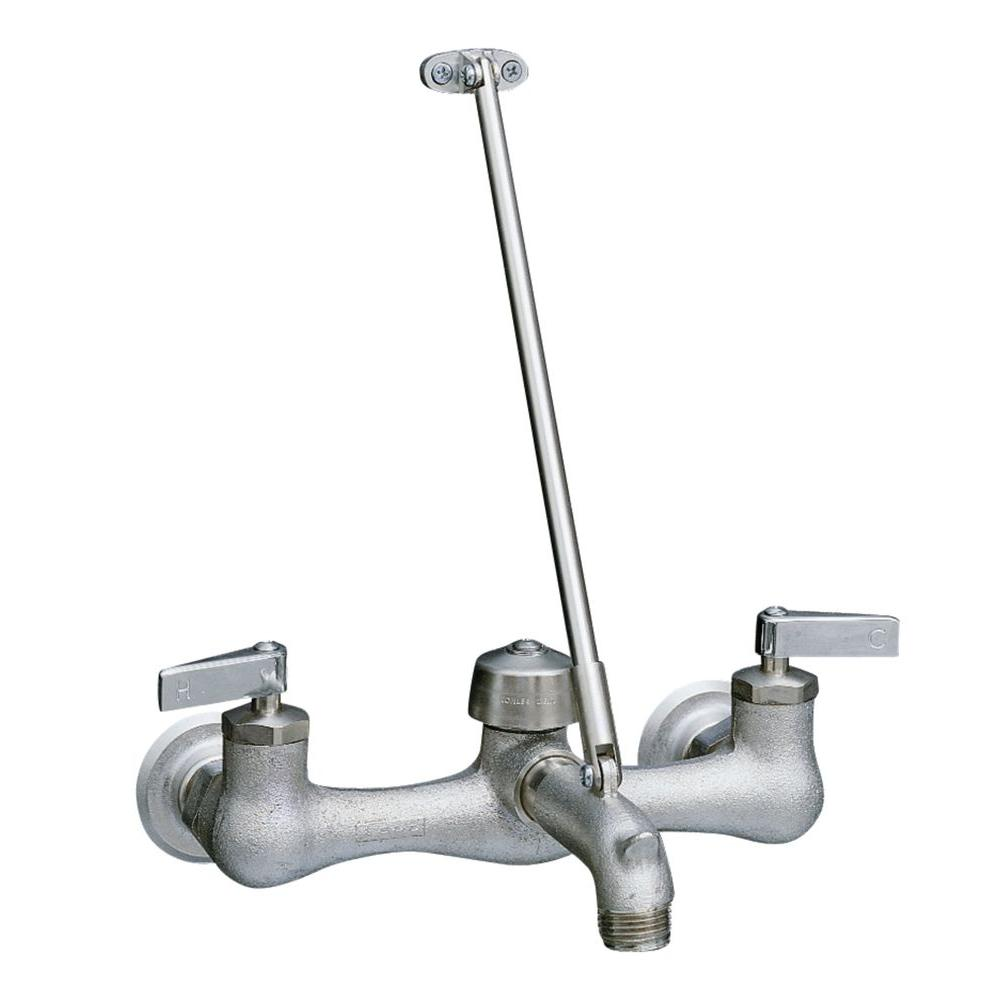 KOHLER Kinlock 8 in. 2-Handle Wall-Mount Low-Arc Service Sink Faucet in Rough Plate