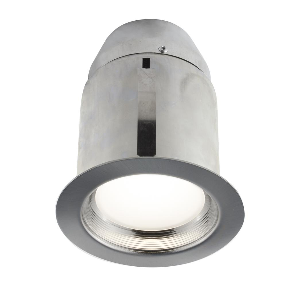 4-in. Brushed Chrome Intergrated LED Recessed Fixture Kit for Damp Locations