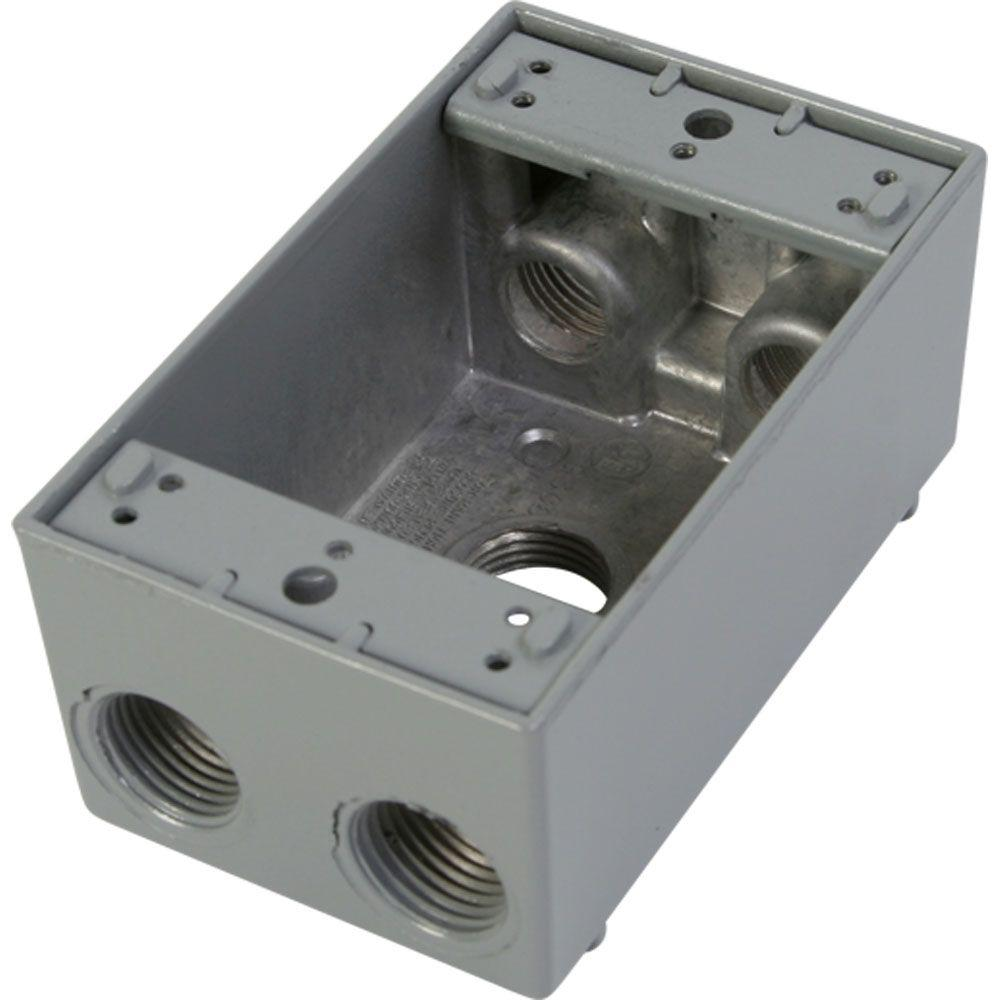 null 1 Gang Weatherproof Electrical Outlet Box with Five 1/2 in. Holes - Gray