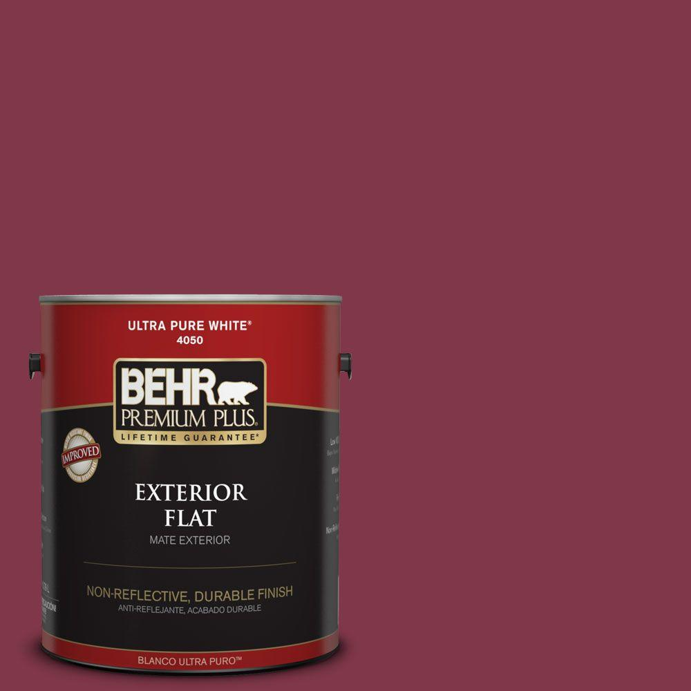 BEHR Premium Plus 1-gal. #120D-7 Ruby Red Flat Exterior Paint