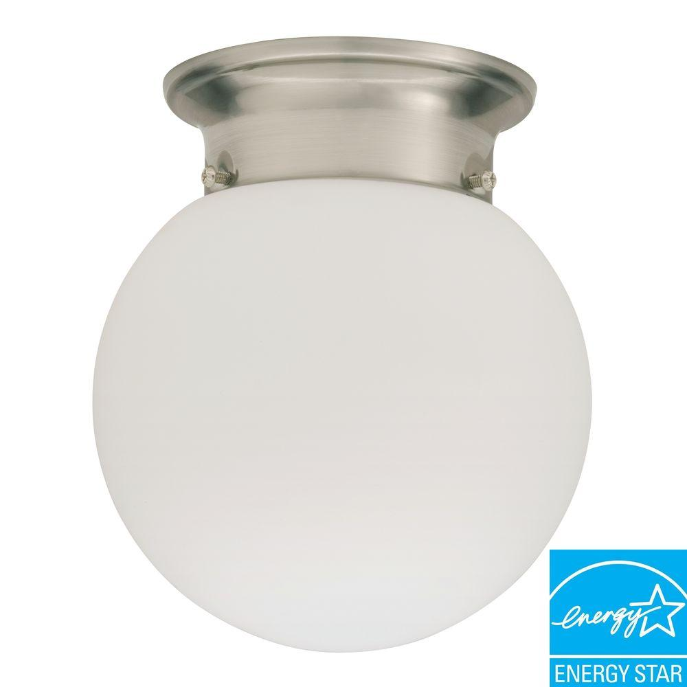 Lithonia Lighting 1-Light Polished Brushed Nickel Fluorescent Ceiling