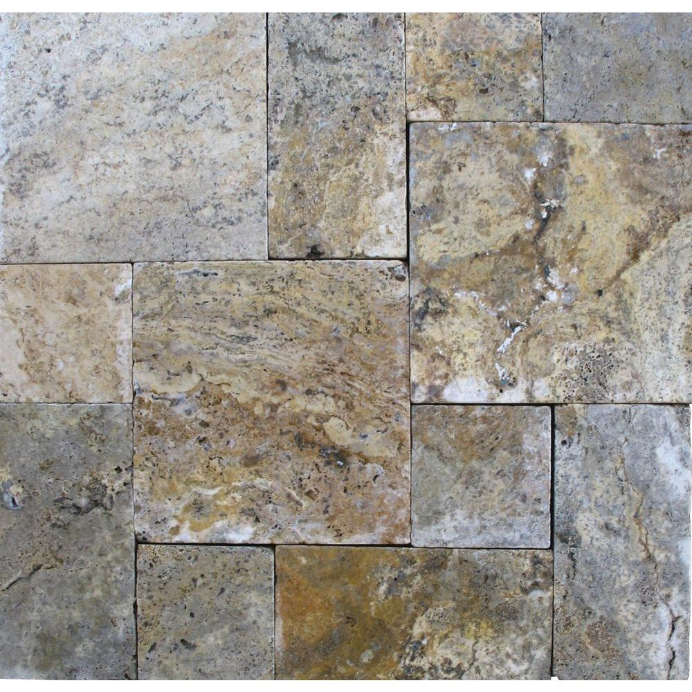 Tuscany Scabas Pattern 16 Sq. ft. Tumbled Travertine Paver Kit (10