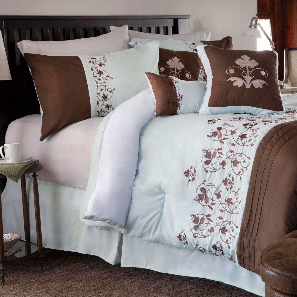lavish home hannah brown embroidered 7 piece queen comforter set