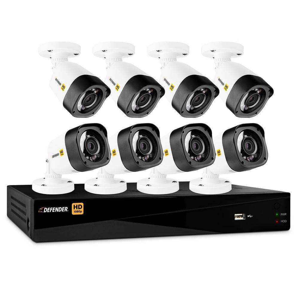 Defender 8-Channel HD 1080p 1TB DVR Security System and 8 Bullet Cameras with Mobile Viewing