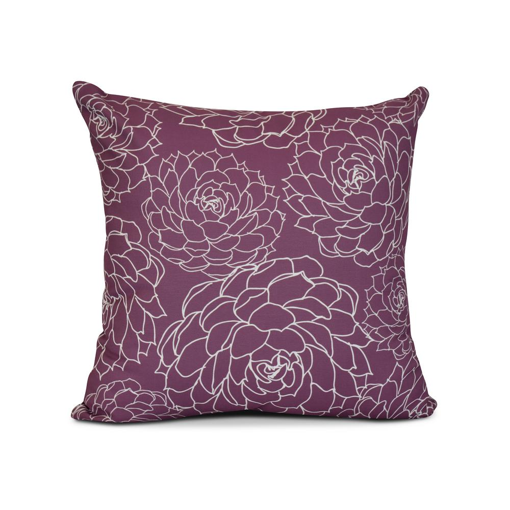 16 in. Olena Floral Print Pillow in Purple-PF840PU5-16 - The Home