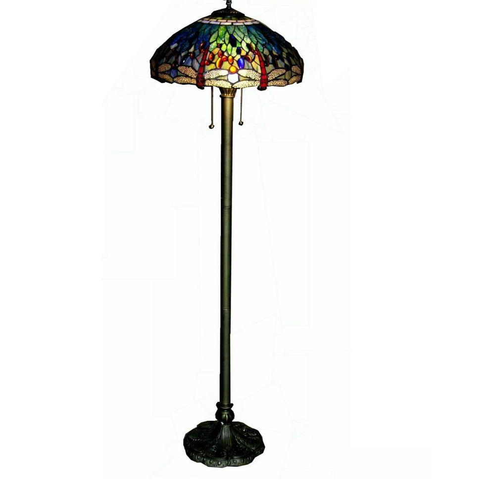Warehouse of Tiffany 62 in. Brass Dragonfly Stained Glass Floor Lamp with Pull Chain Switch